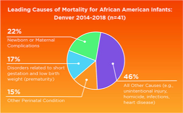 Leading Causes of Mortality for African American Infants Denver chart 2019